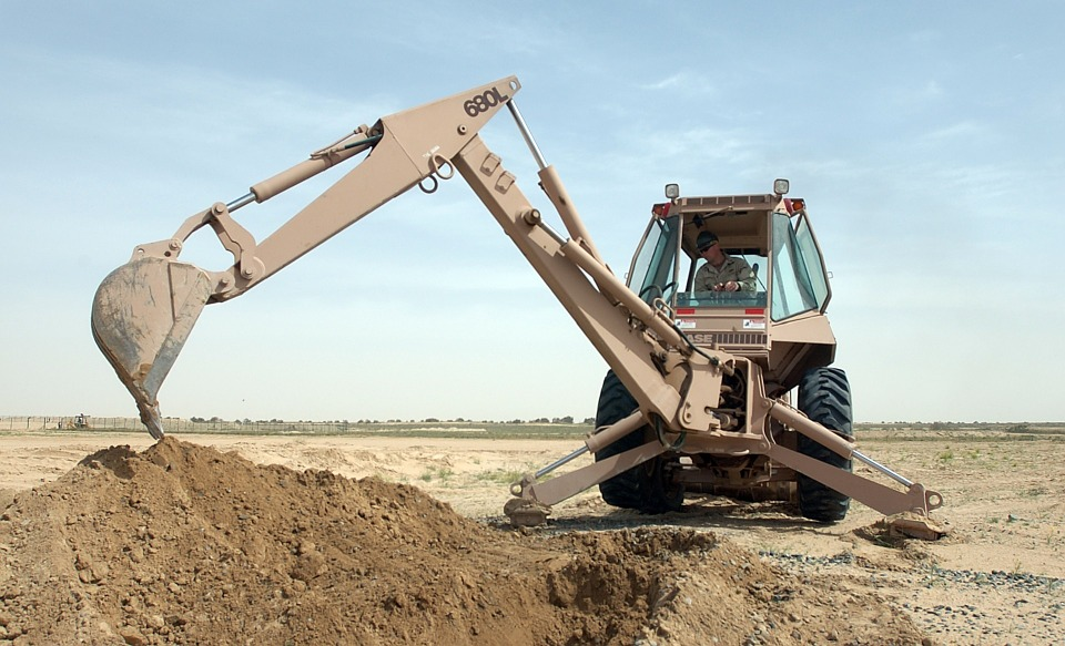 backhoe scoop digging